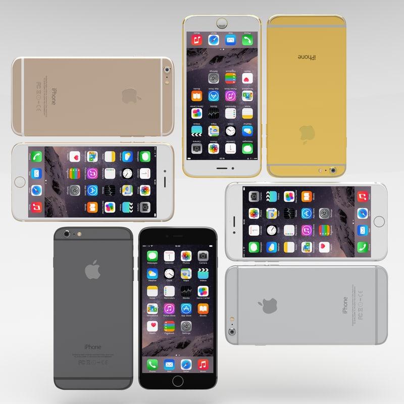 pack iphone 6 phones 3d model