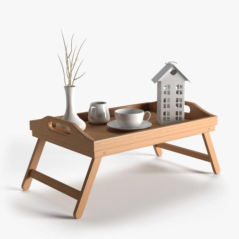 wooden breakfast bed tray 3d model
