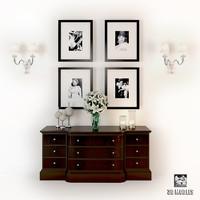 3d bedroom modern set model