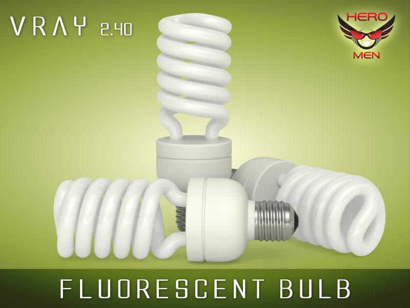 fluorescent bulb light 3d model