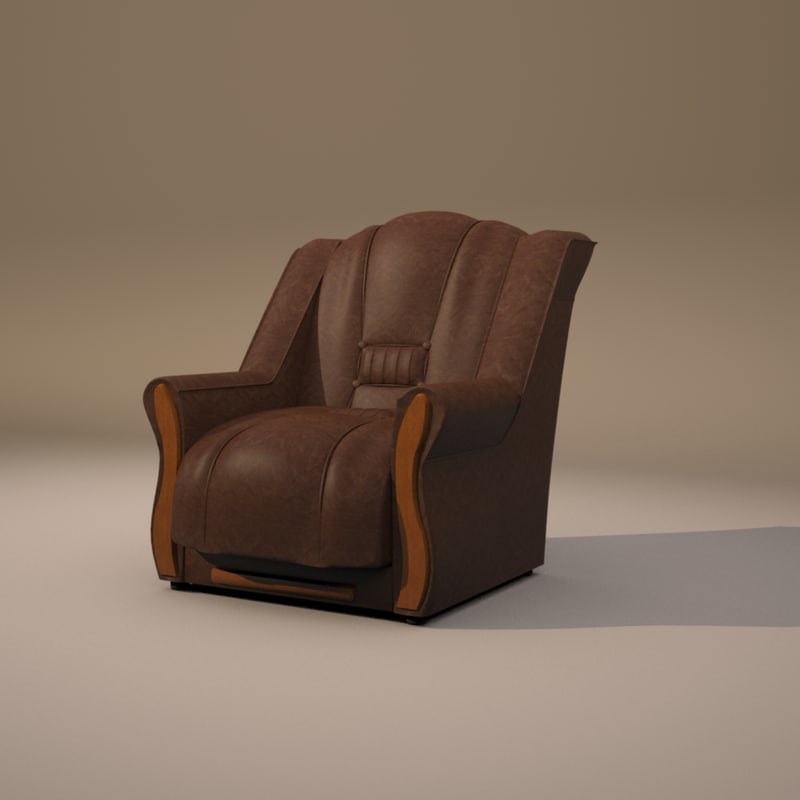 leather chair 3d 3ds