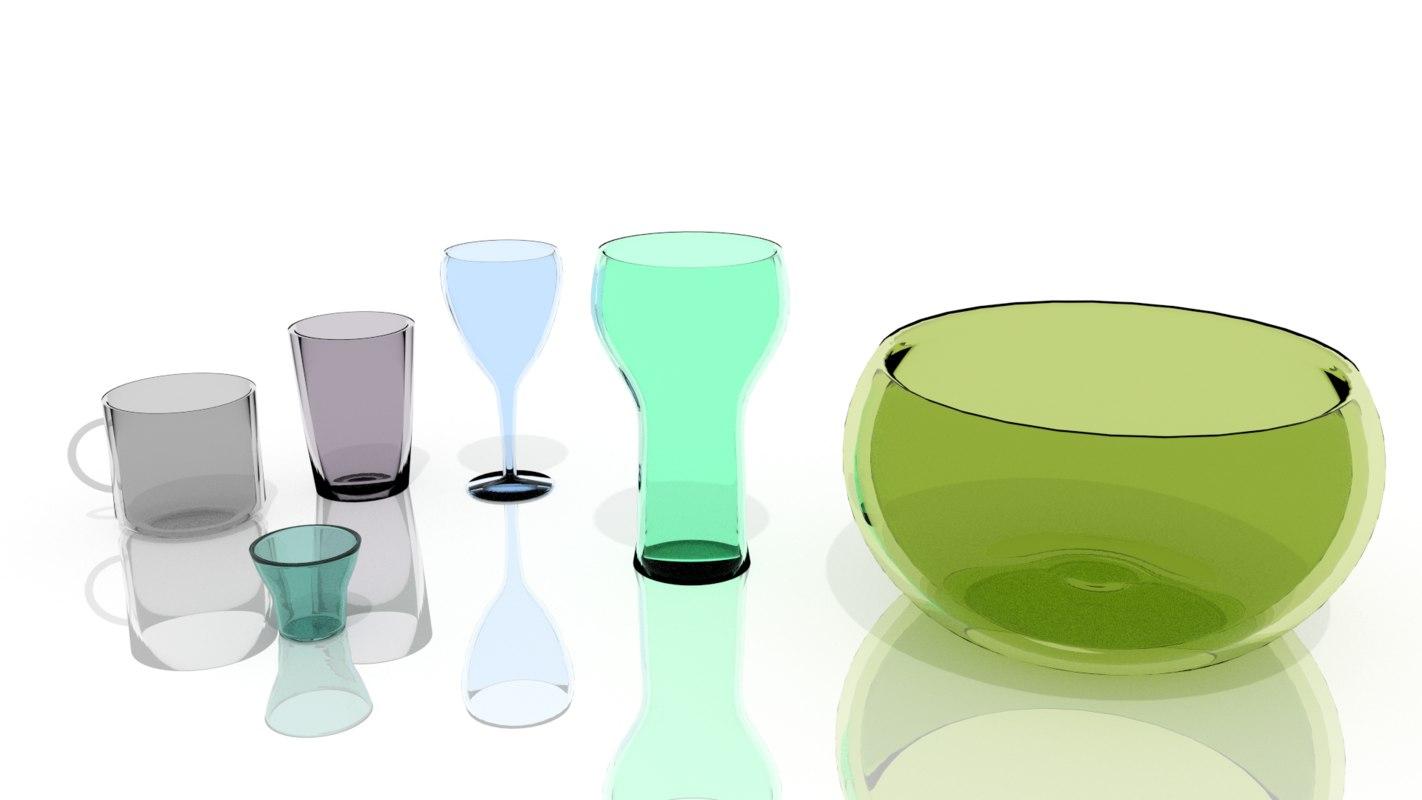 3d model glass bottles