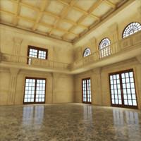 artdeco lobby banquet hall 3d max