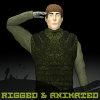 3d max rigged male military character
