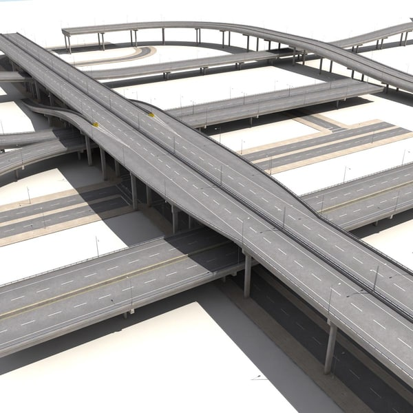 3d highway streets construction sidewalk model