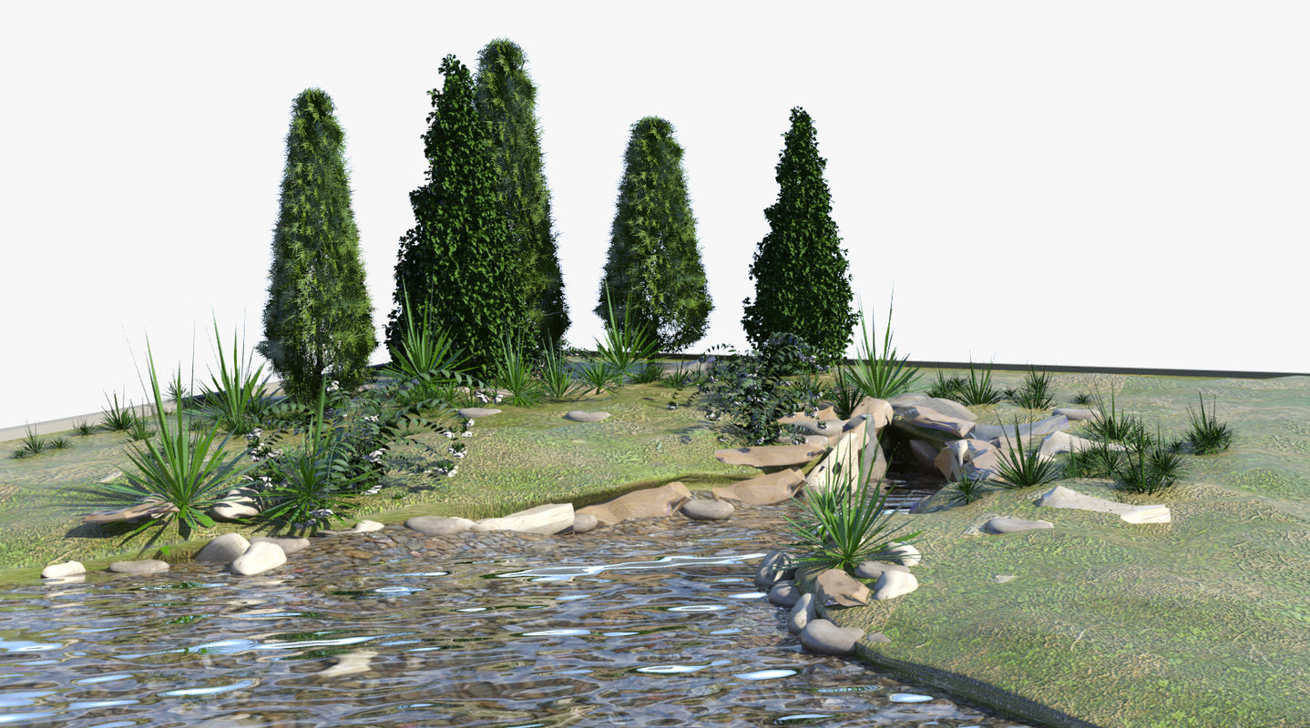 pond landscape land 3d model