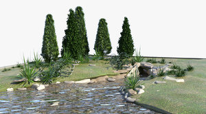 pond landscape land 3d model