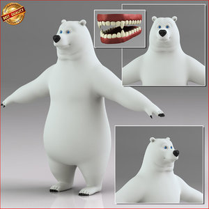 cartoon polar bear 3d obj