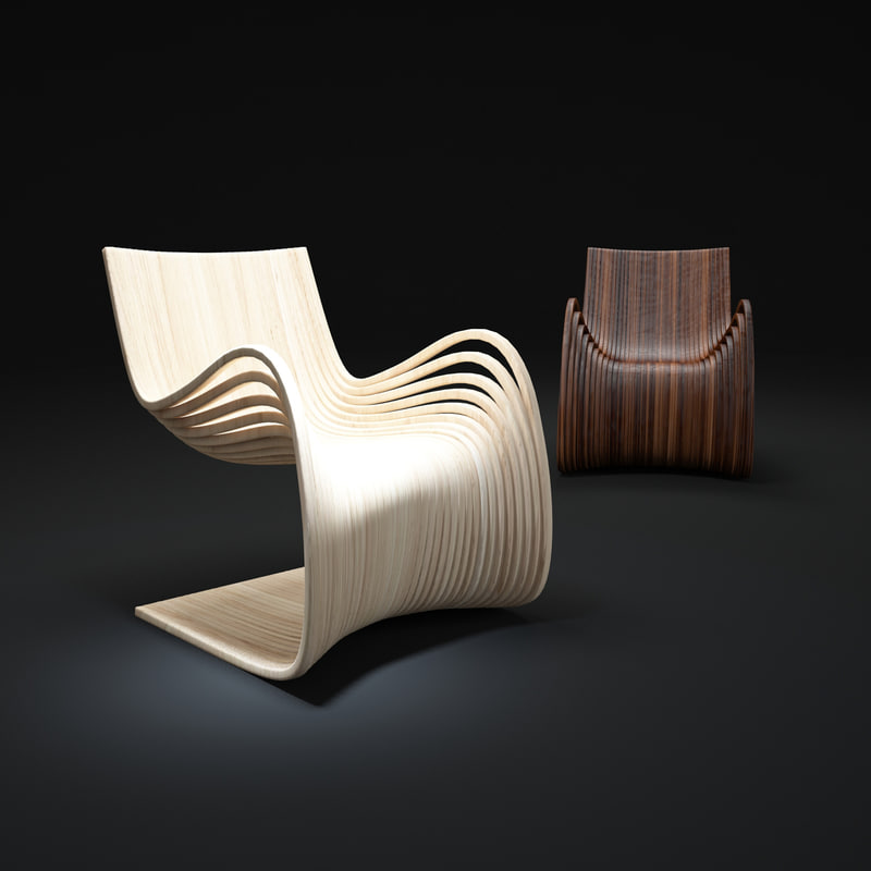 3ds max wooden-curved-chairs