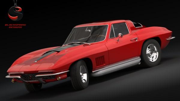 chevrolet corvette stingray 1967 3d obj