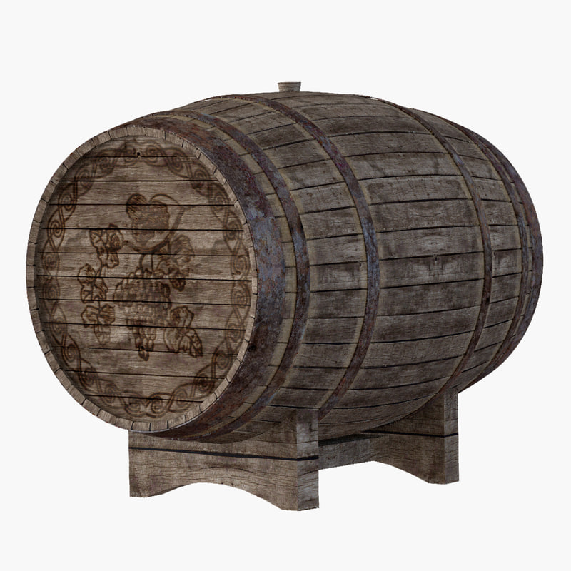 3d old wine barrel model