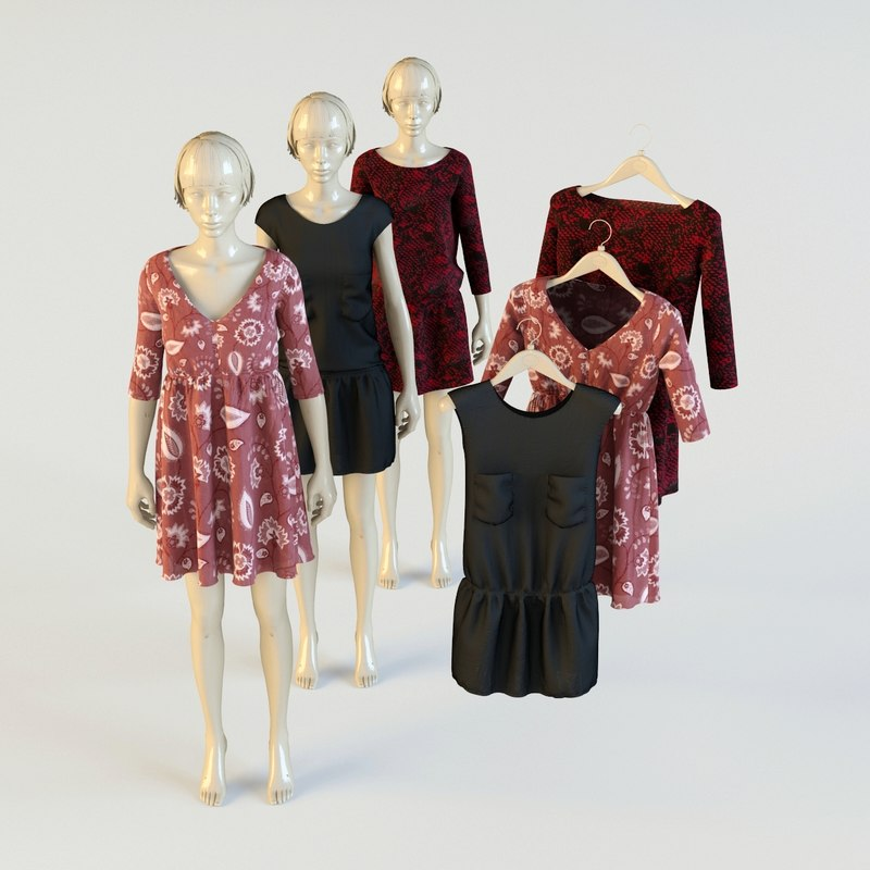 3d dress mannequin hangers model