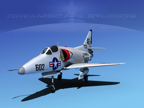 skyhawk douglas a-4 a-4d 3d max