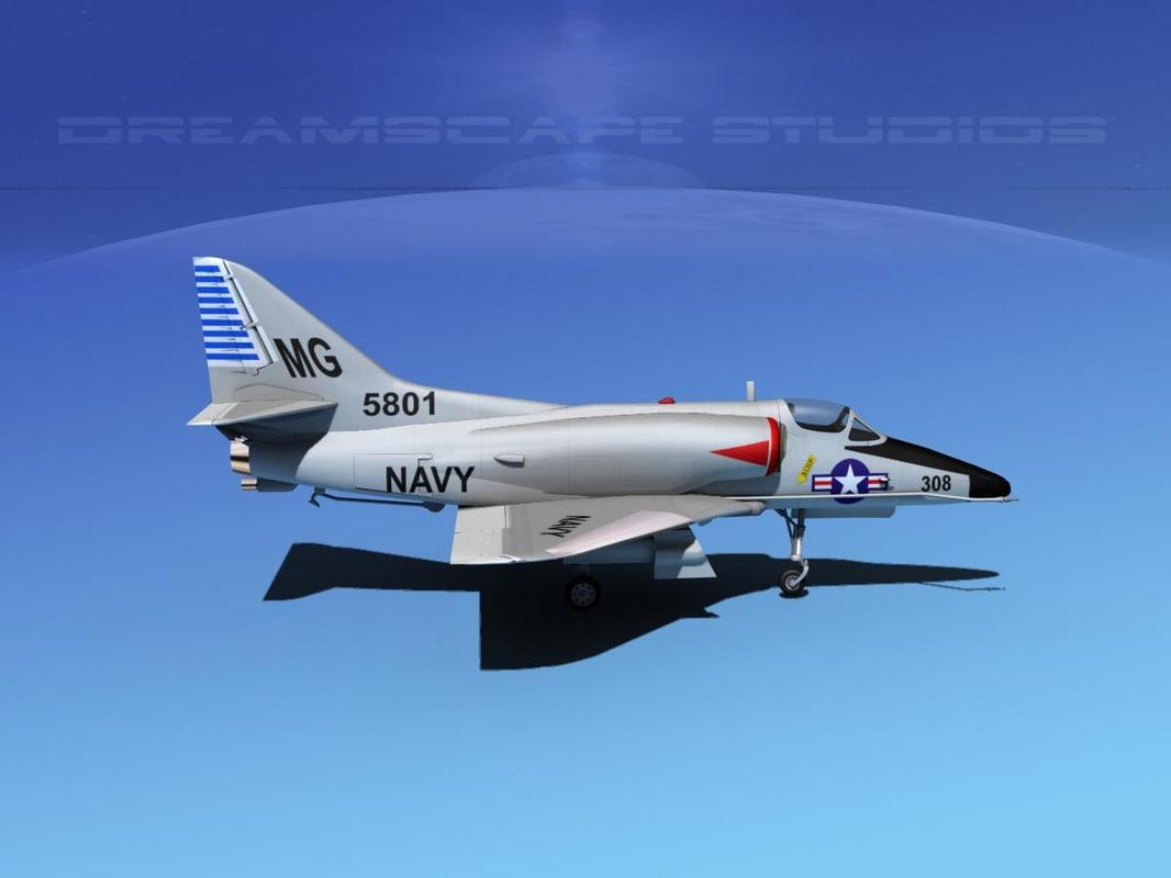skyhawk douglas a-4 a-4d 3d model