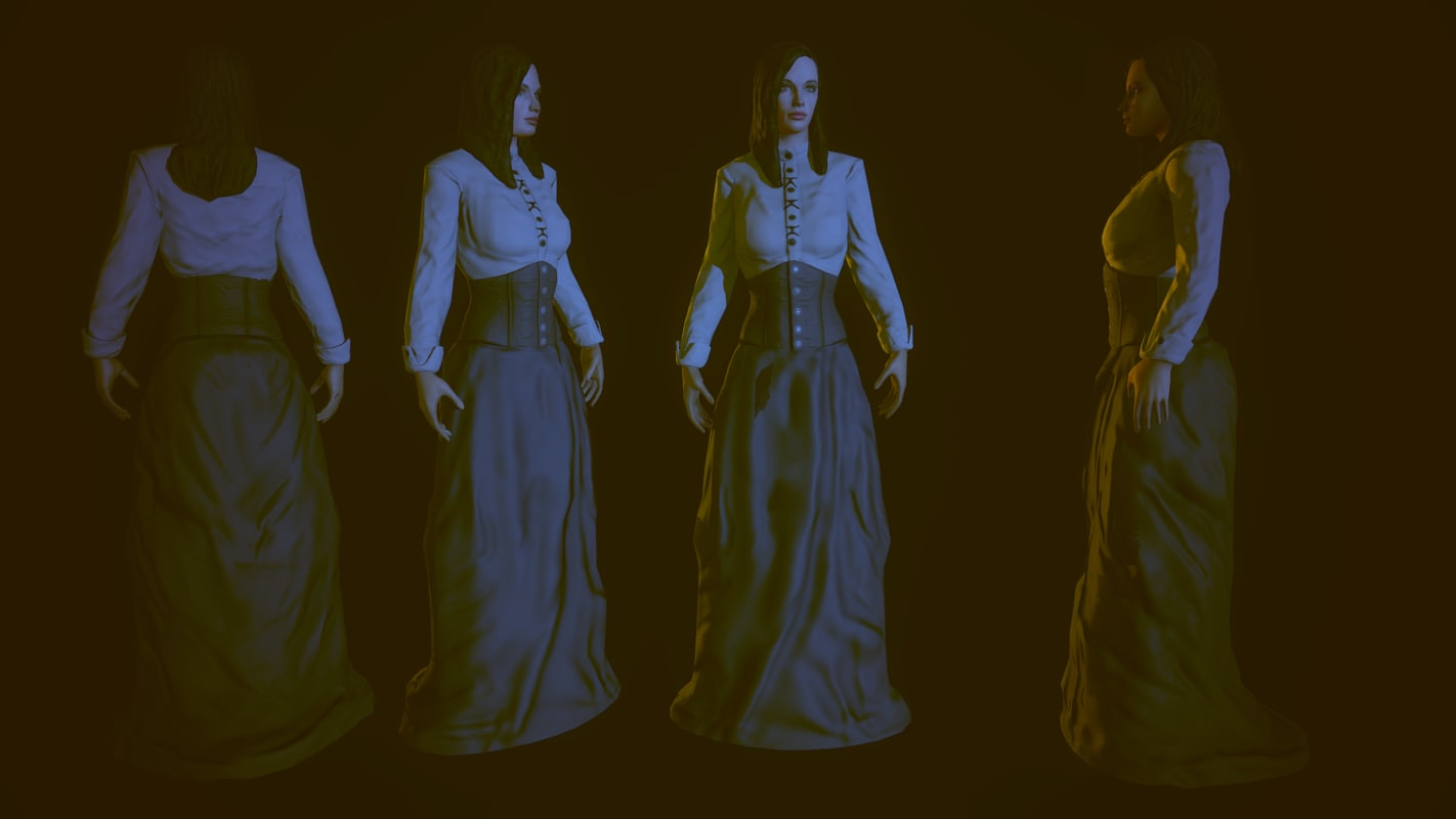 19th century lady 3d 3ds