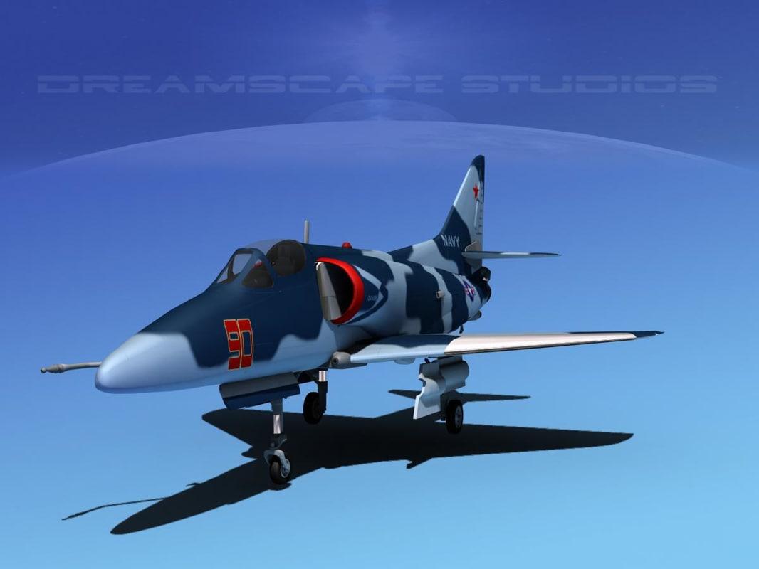 skyhawk douglas a-4 a-4d obj