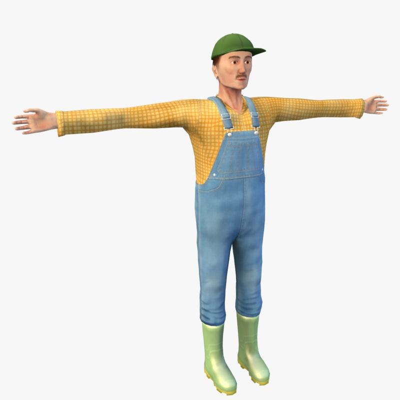 3d model farmer character blender