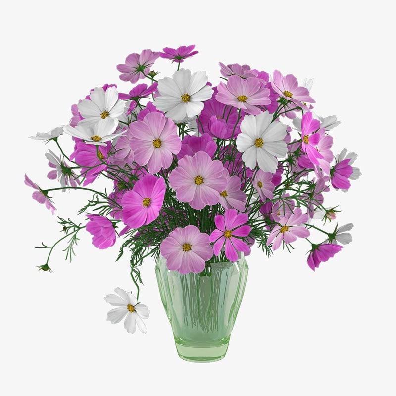 3d model bouquet cosmos flowers