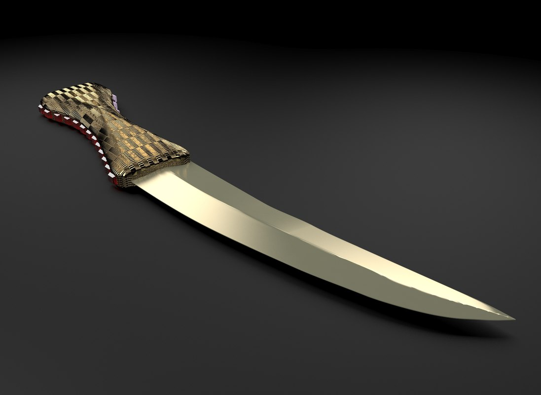knife gold handle 3d model