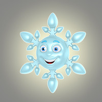 3d model cool cartoon snowflake