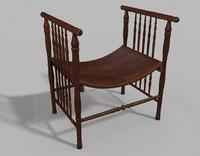 3d antique bustle bench