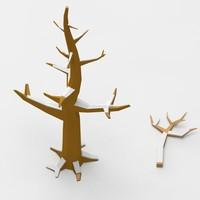 cartoon winter deciduous tree 3d model