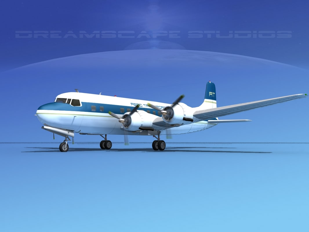 3d 3ds propellers douglas dc-6 transport