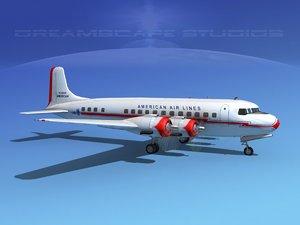 3d propellers douglas dc-6 airliner