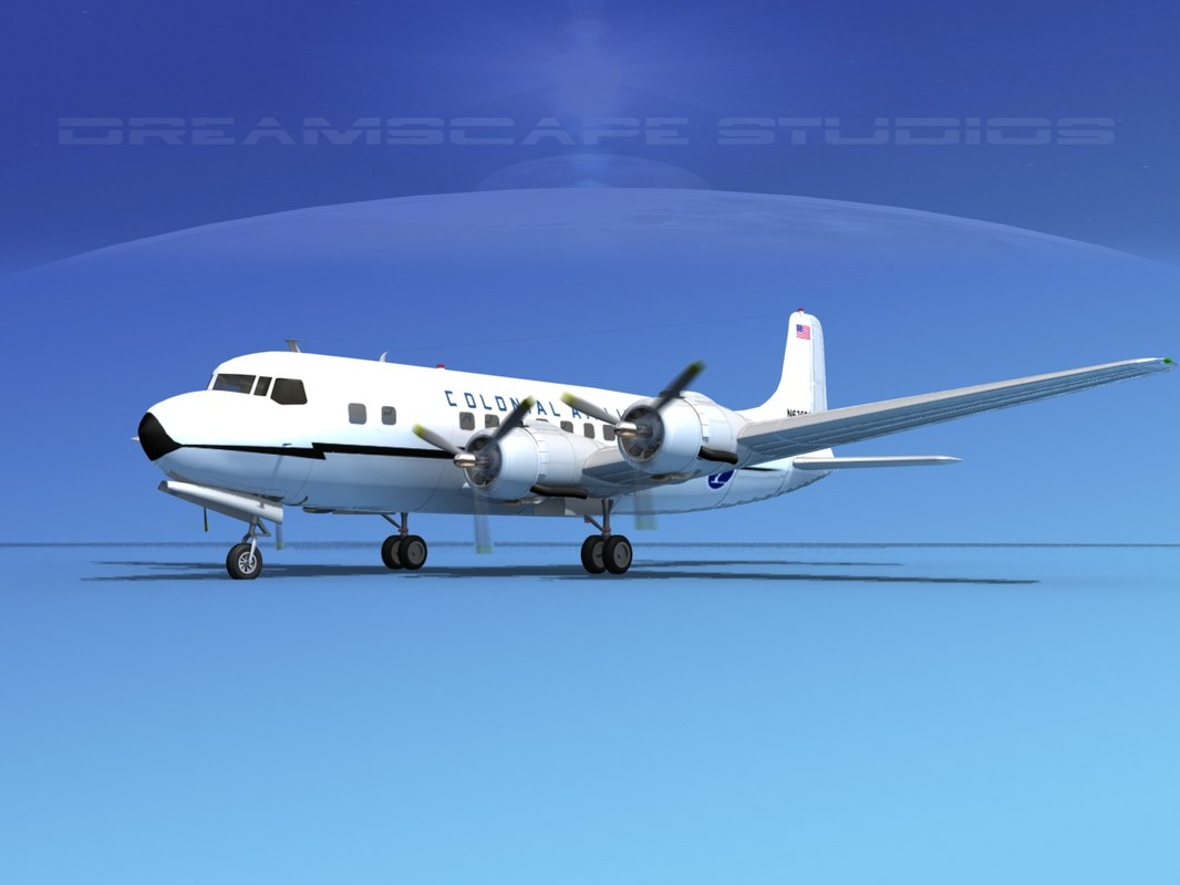3d model propellers douglas dc-6 airliner