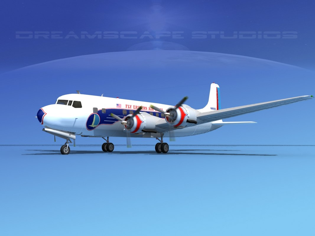 propellers douglas dc-6 airliner 3d max