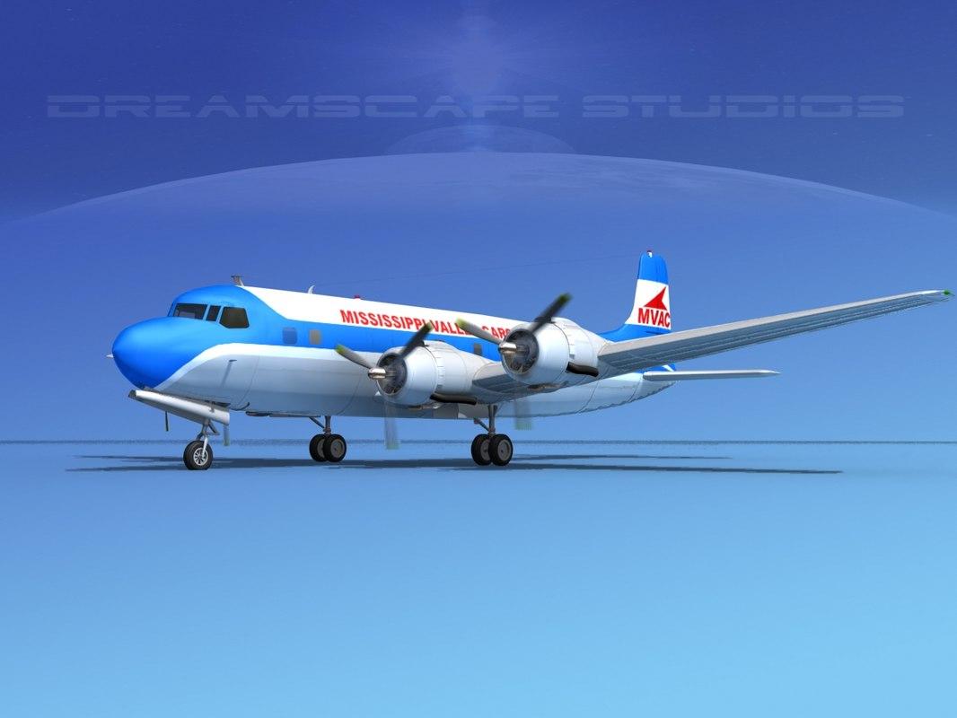 3d model propellers douglas dc-6 commercial cargo