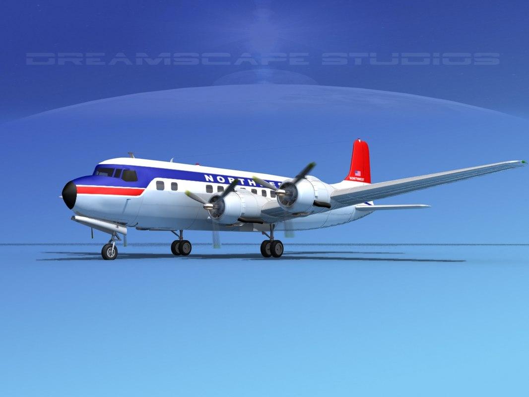 3d propellers douglas dc-6 airliner model