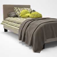Caitlin Twin Fabric Bed Frame in Beige