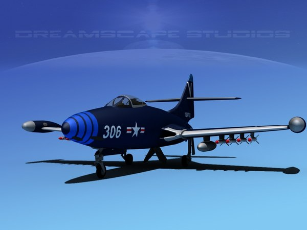 panther f9f jet fighter 3d 3ds