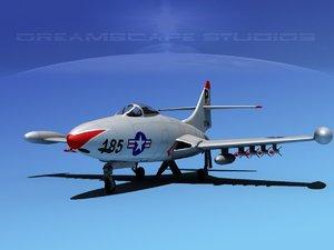 panther f9f jet fighter 3d model