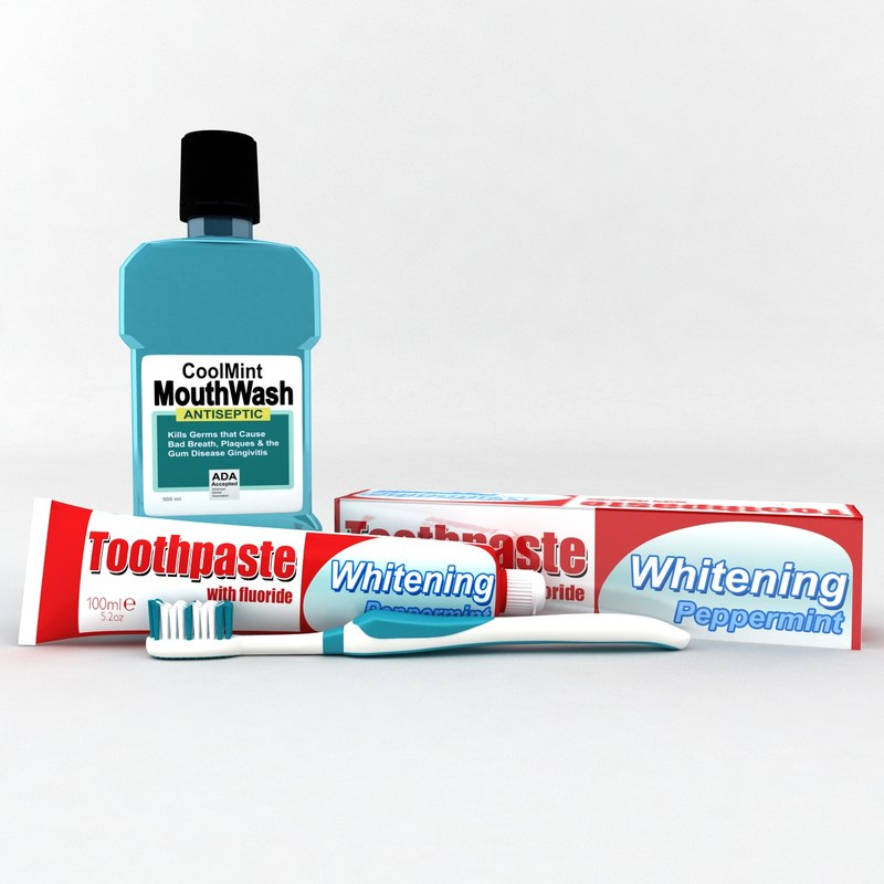 3d toothbrush toothpaste box model