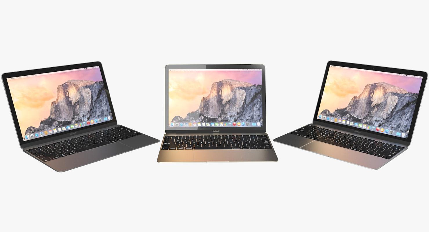3d realistic apple macbook 2015