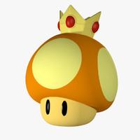super mario golden mushroom 3d c4d