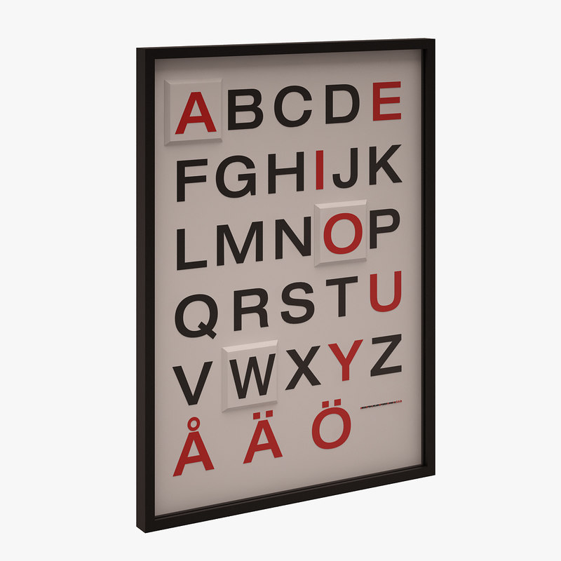 3d model alphabetical wall picture