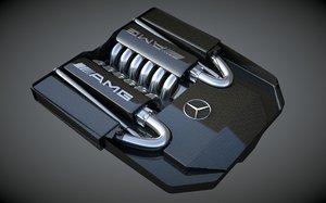 3d model mercedes-benz engine