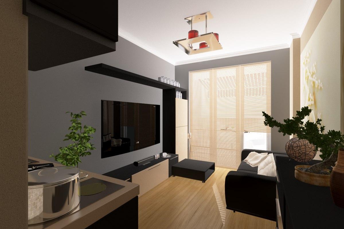 3ds max apartment interior scene
