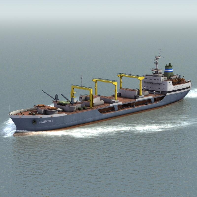 bulk cargo ship 3d model