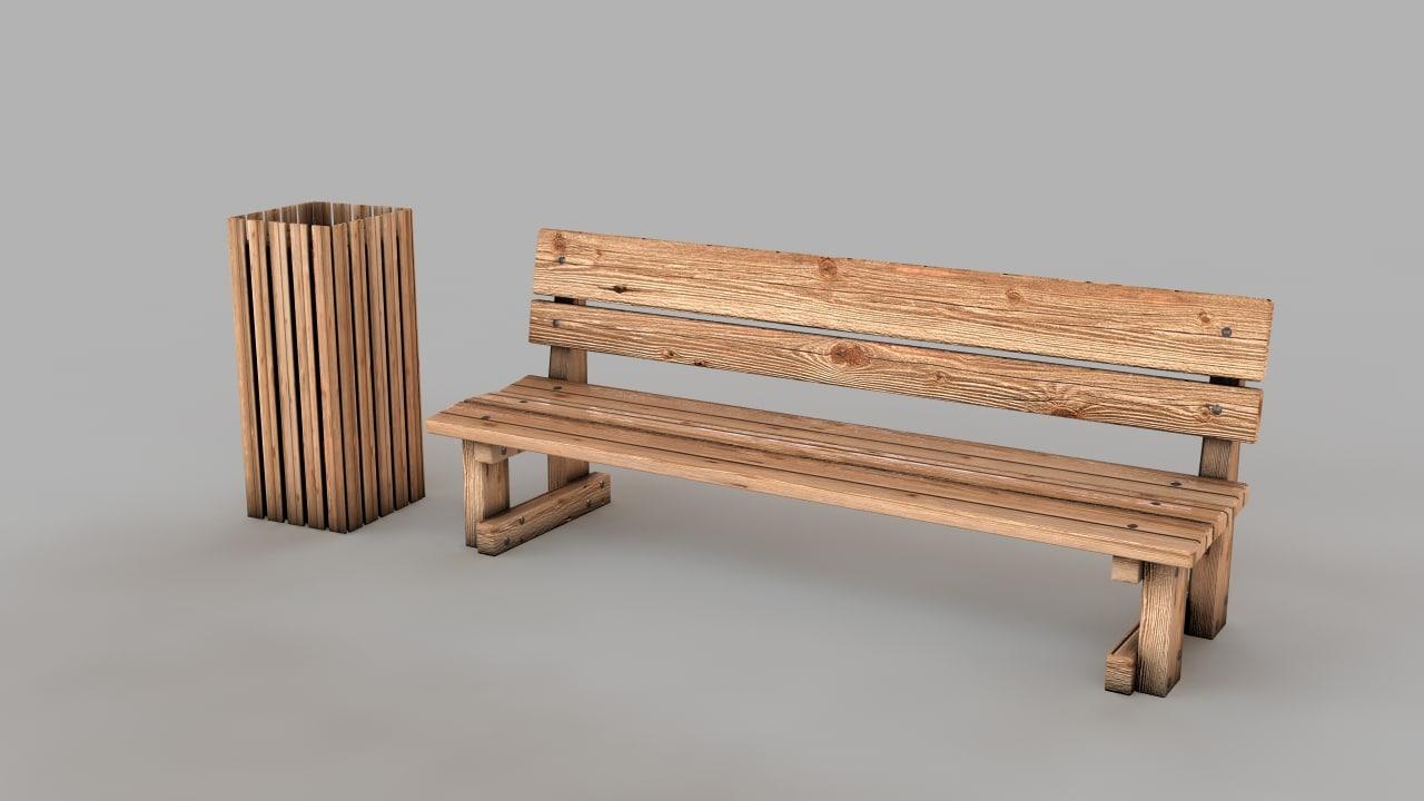 bench bin 3d model