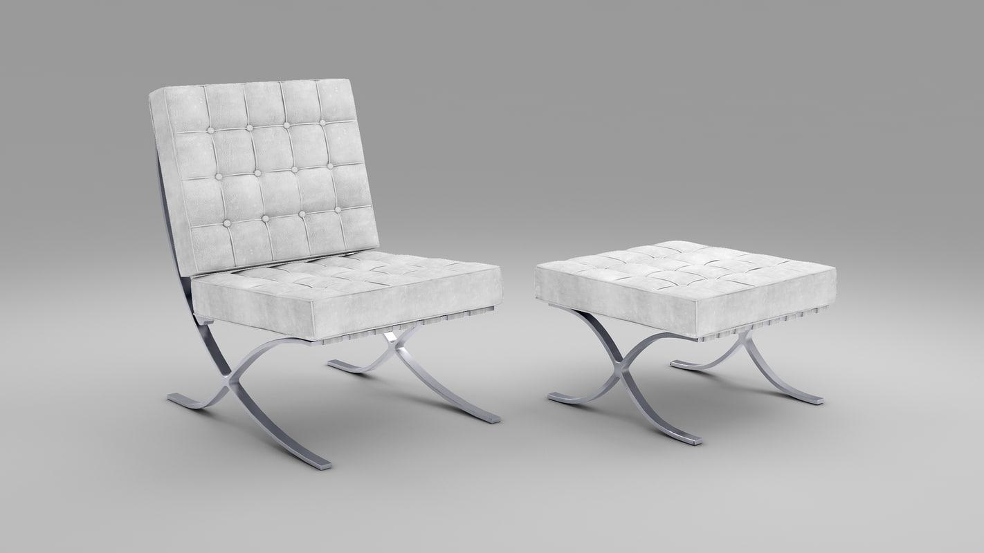 3dsmax barcelona chair stool
