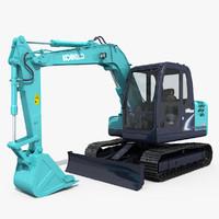 Kobelco SK75 Excavator with Dozer