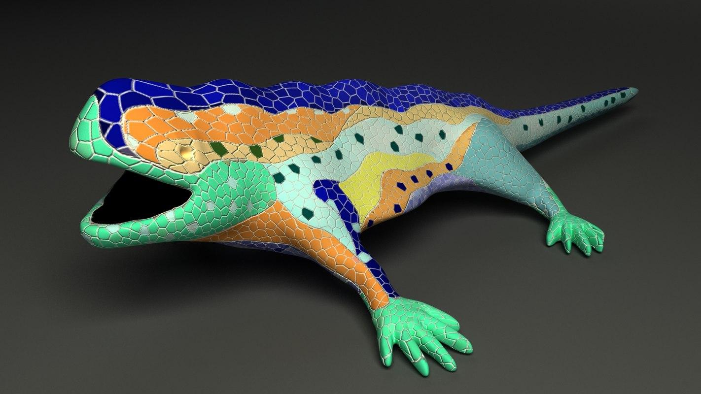 3d model rigged gaudi salamander