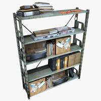 metal shelving clutter 3d model