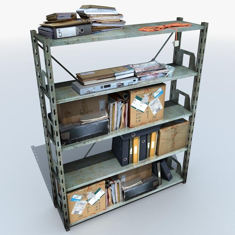 metal shelving clutter 3d model