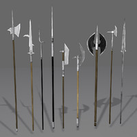 Medieval Polearm Collection 1 - Low Poly Weapons Axe Sword