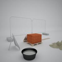 construction fence 3d 3ds